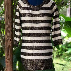 INC | Striped Gold Tunic Sweater